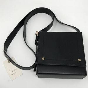 A New Day Square Flap Crossbody Handbag Black